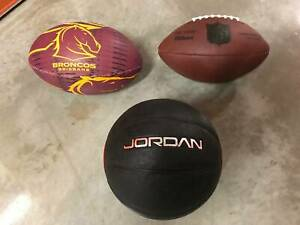 Set of 3 balls - Rugby League, Basketball and NFL