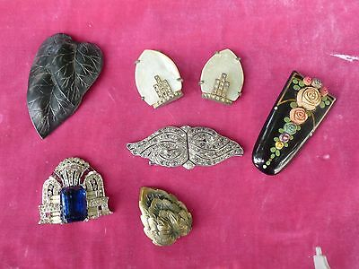 LOT OF ASSORTED ART DECO SHOE OR SWEATER CLIPS, 2 PAIR AND 4 SINGLES