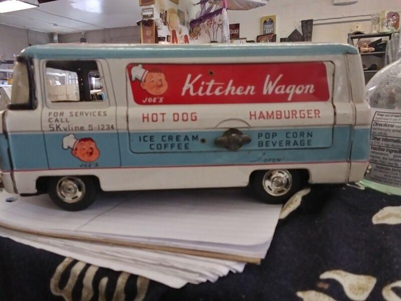 Vintage Tin Toy Joes Kitchen Wagon Rare