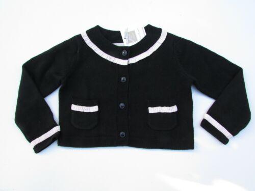 Janie and Jack 2 NWT Beautifully Adorned Black w/ Pink Trim Cardigan Sweater LF1