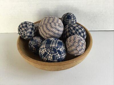 6 Burgundy Homespun Gingham Rag Balls Ragball Bowl Filler Farmhouse Ornaments