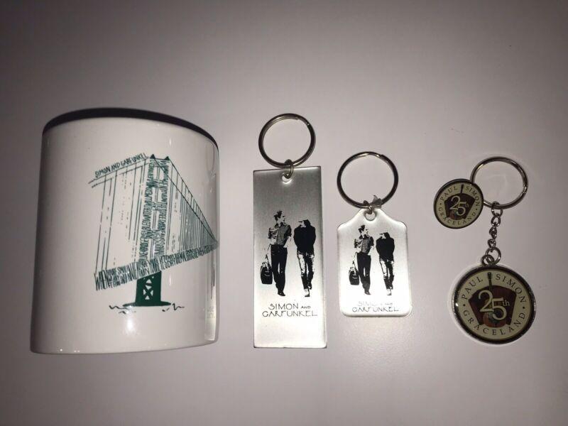 Simon And Garfunkel Collection Lot Let Chain Coffee Mug Label Pin Button Promo