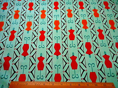 (Novelty Fabric By The Yard Sewing Dress Forms Hanger Turquoise Kaufman Cotton #C)
