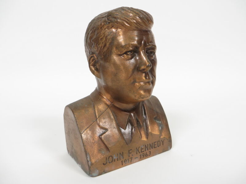 Vintage Banthrico John F Kennedy 1917-1963 Bronze Bust Statue Coin Bank JFK