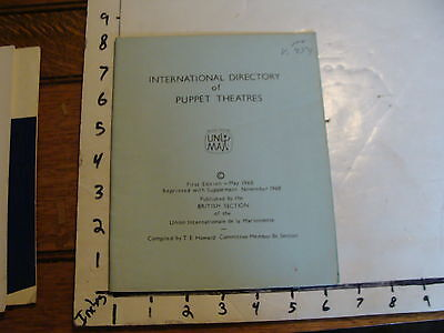 Vintage Puppet Marionette item: International Directory of Puppet Theatres 1968