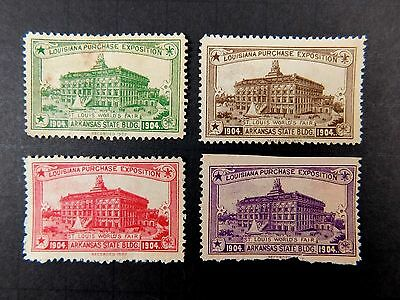 1904 ST LOUIS WORLD'S FAIR POSTER STAMP ARKANSAS STATE BUILDING 4 COLOR SET WF9