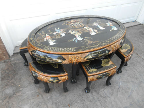 Vintage Oriental / Asian Inlayed Mother Of Pearl Coffee Table with Six Stools