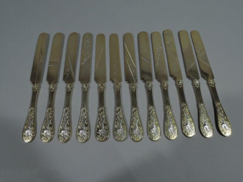 Tiffany Japanese Knives - Audubon Dessert - American Sterling Silver Parcel Gilt