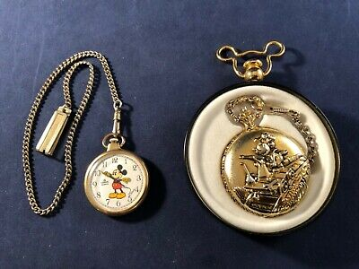 Lot of 2 Mickey Mouse Pocket Watches Disney