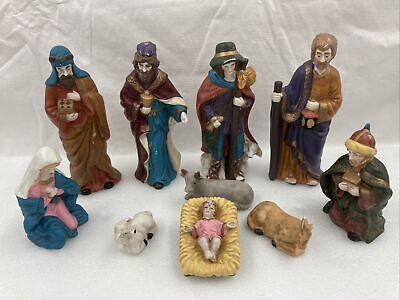 Vintage Nativity Set 10 Piece Hand Painted Bisque Porcelain