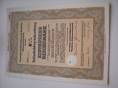 Deutschland -  Verein.Elektrizitätswerke Westfalen  1000 RM  1940  1/320