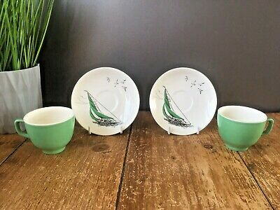 2 RARE VINTAGE 1950'S PALISSY GREEN REGATTA COFFEE CUPS & SAUCERS YACHT SAILING