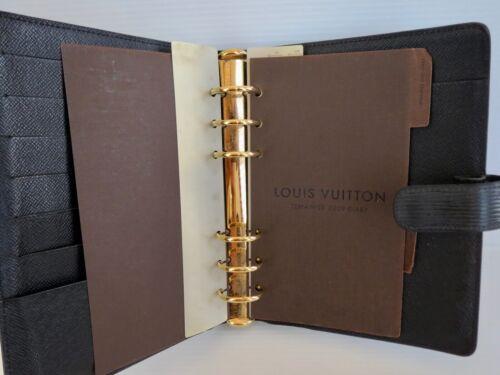 Vintage Large Authentic LOUIS VUITTON Black Epi Leather Agenda Planner DAYTIMER