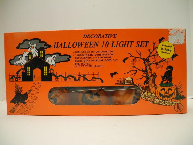 Vintage Halloween Pumpkin Light Set of 10 Jack O Lantern Decor String Work w/Box