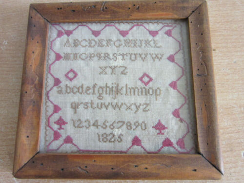 Antique dated 1825 small Alphabet Sampler, framed