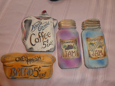 VTG WOOD 4 KITCHEN THEME PLAQUES COUNTRY DECOR HAND CRAFTED SIGNS  - Kitchen Theme Decor