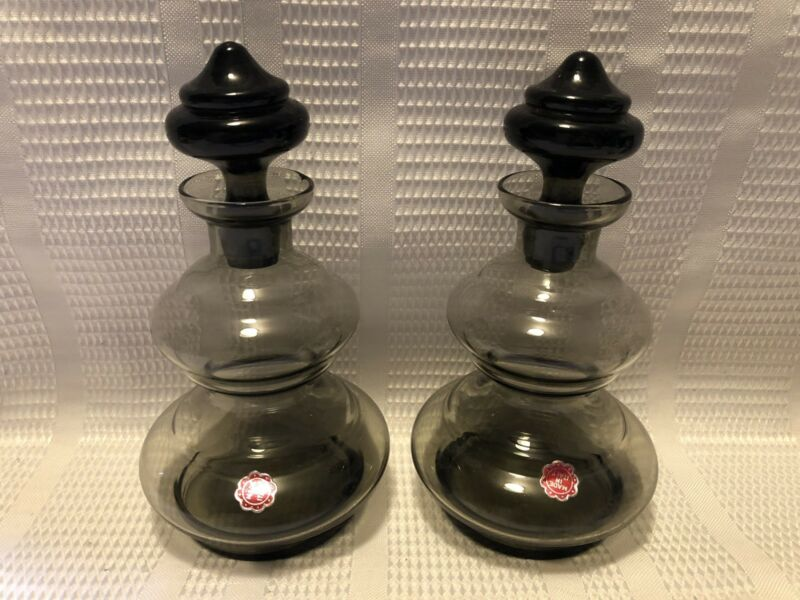 Vintage Grey Glass Perfume Bottle/Decanter W/Stopper Set (Made In Italy)-Qty.2