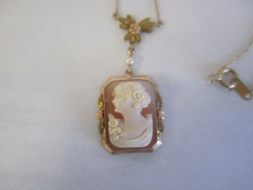 VINTAGE 10K GOLD CAMEO NECKLACE