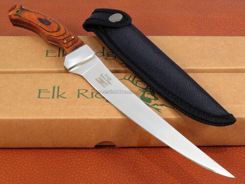 Elk Ridge Fillet Knife 12 inch Fixed Blade Wood Handle Full Tang Fishing ER028