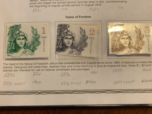 US 5295-5297 $1 $2 $5 STATUE OF FREEDOM singles MNH