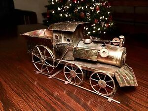 Antique Metal Train Statuette with music
