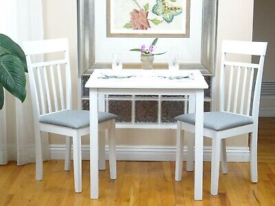 3 Pcs Dining Room Dinette Kitchen Set Square Table and 2 Warm Chairs White Dining Room Set Bookcase