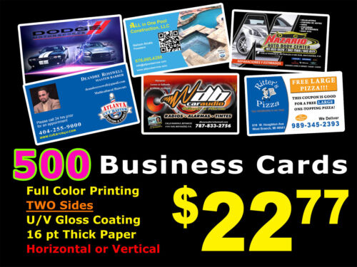 LOOK 500 BUSINESS CARDS - Full Color UV Gloss Personalized Custom Must See!!!