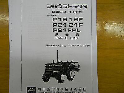 Shibaura P19 And P21 Tractor Parts Manual