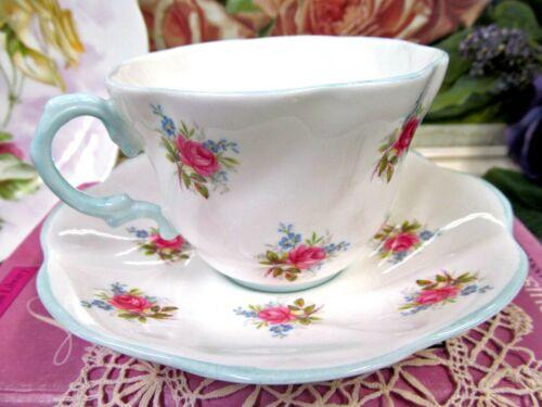 ROSINA tea cup and saucer  pink roses  floral  teacup England 1930