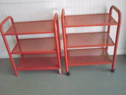 2 small Metal Shelving units, one on wheels, Red $20 for two