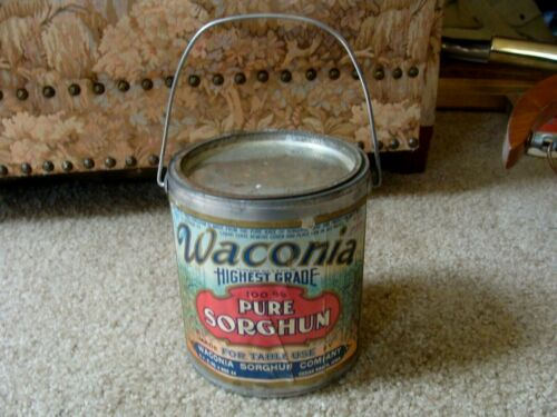 Vintage WACONIA Pure Sorghum Tin Can  5 Lb. Paper Label Cedar Rapids Iowa