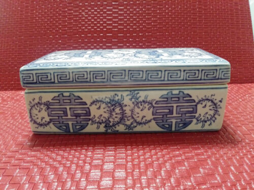 Antique Vintage Chinese Porcelain Blue & White Covered Box With Two Compartment