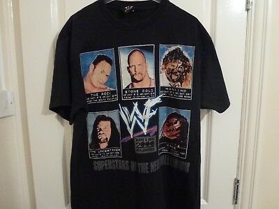 Attitude Era WWF WWE T shirt top stone cold the rock undertaker kane Mankind L