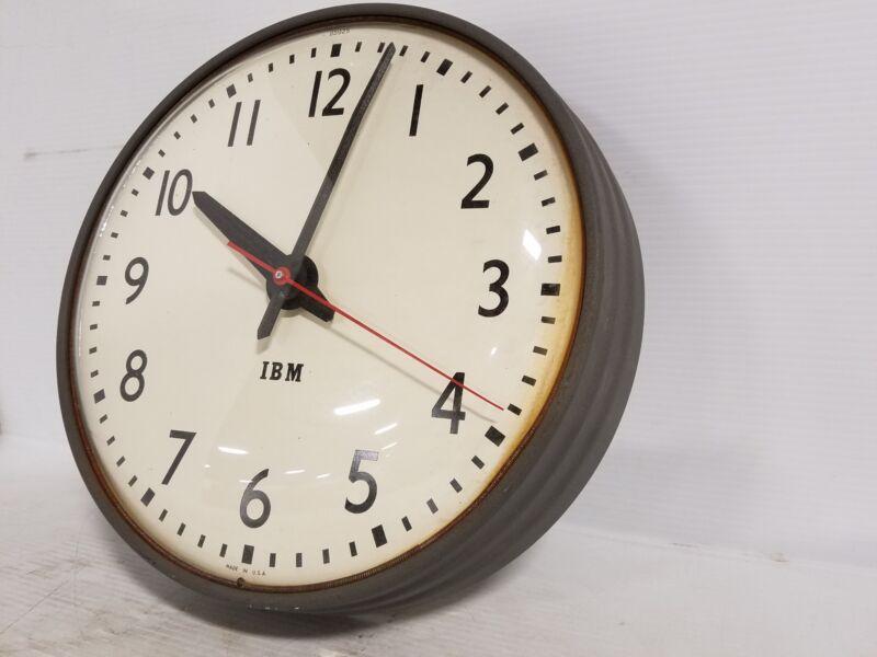 "IBM 13.5"" Wall Clock Industrial Schoolhouse School Decor Vintage 95925"