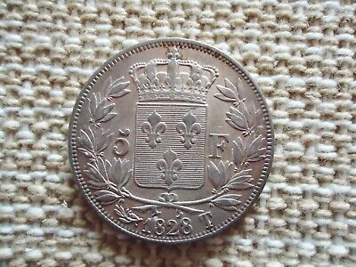 FRANCE 1828 T 5 FRANCS CHARLES X SILVER COIN. . 25g, 37mm. NANTES