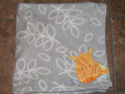 Blankets & Beyond Gray Flowers Orange Giraffe Baby Blanket Security Lovey