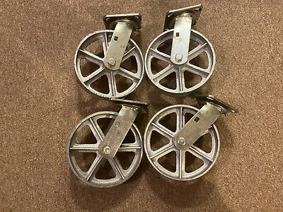 8 Swivel Plate Casters Heavy Duty Cast Iron Wheel Set Of 4 No Brake
