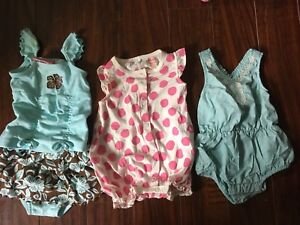 3-6 month girls summer rompers/sets