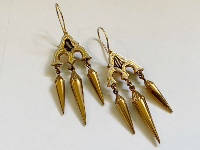 Antique Victorian Gold Filled Pierced Dangle Earrings with Black & White Enamel