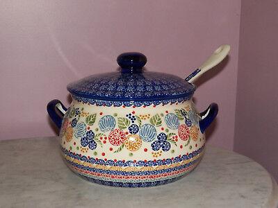 Polish Pottery 3L Soup Tureen w/ Ladle! UNIKAT Signature Paper Lanterns Pattern](Paper Soup Bowls)