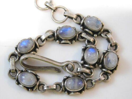 "Vintage Sterling Silver Blue Moonstone Cabochon Tennis style 7"" Bracelet 9f 94"