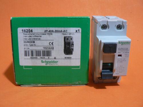 SCHNEIDER MULTI 9 ID/RCCB 16204 2P 40A 30mA AC RESIDUAL CURRENT CIRCUIT BREAKER