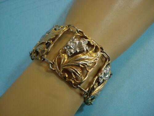 Vtg DANECRAFT Sterling & Gold Vermeil Floral Accent WIDE PANEL Bracelet