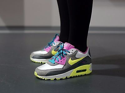 Nike Air Max 90 (GS)Youth Shoe Sz 6 345017-119 White/Volt Ice-Green Abyss-Grey