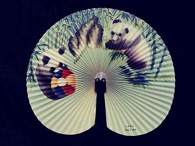 Beautiful Vintage Panda's In Eucalyptus Playfully Ladies Hand Fan 10x8h PLUS 3