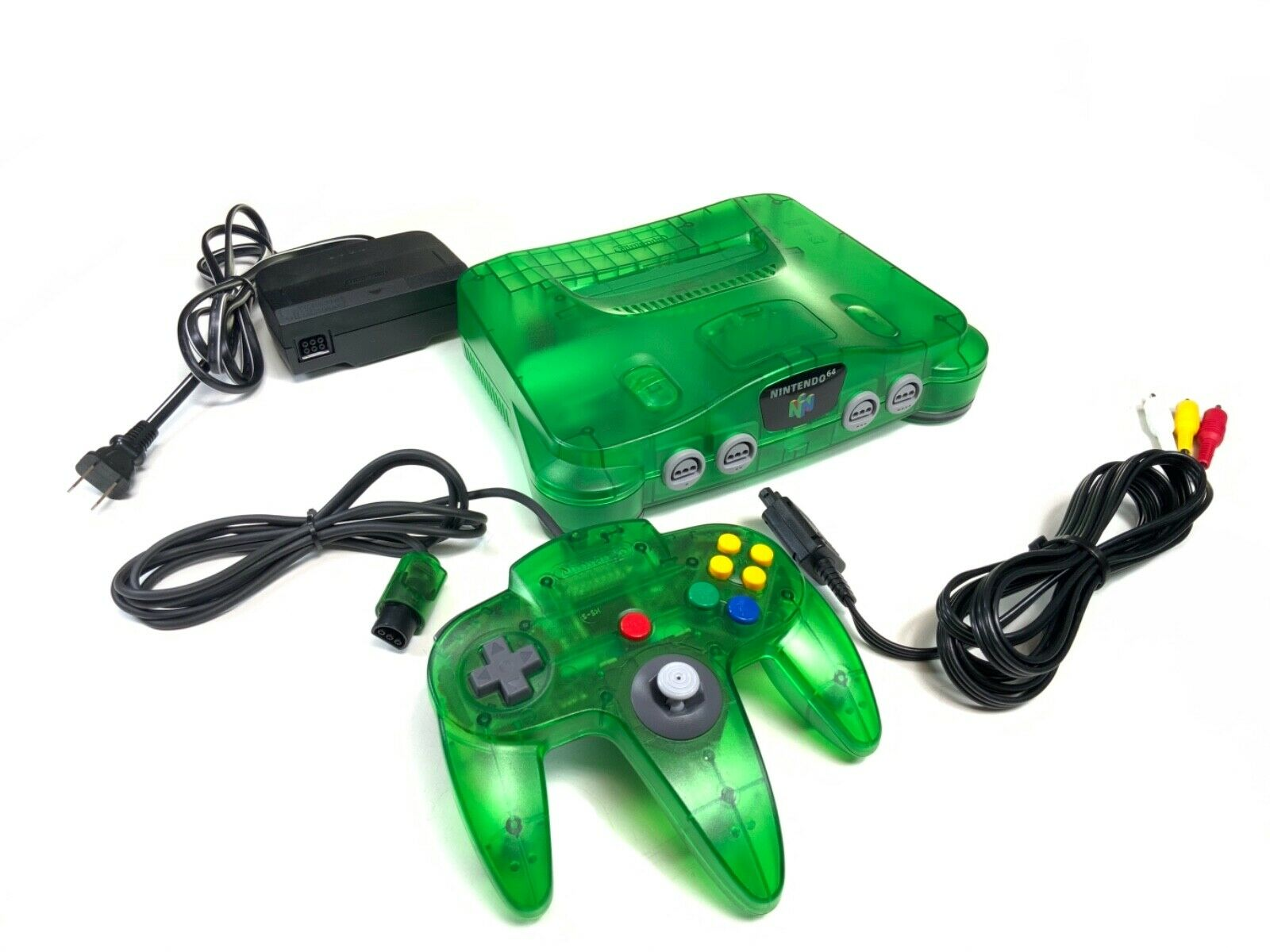 ORIGINAL NINTENDO 64 JUNGLE GREEN SYSTEM CONSOLE W/ POWER, CONTROLLER RCA - $203.99
