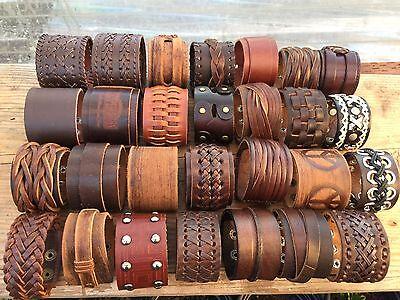 - Punk Men Women Wide Genuine Leather Belt Bracelet Cuff Wristband Bangle (USA)