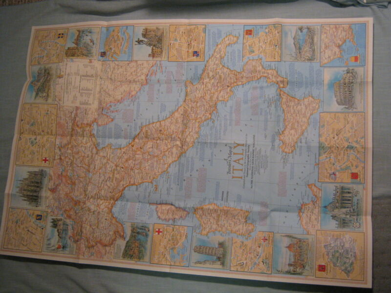 VINTAGE A TRAVELER'S MAP OF ITALY  National Geographic June 1970 MINT