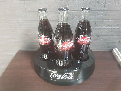 Coca Cola black plastic 3 Bottle Holder display stand or glass stand