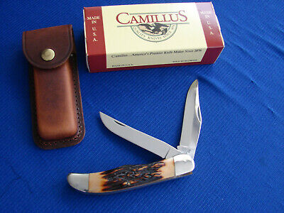 VINTAGE CAMILLUS 26 LARGE 2 BLADE FOLDING HUNTING KNIFE,SHEATH,BOX, USA MADE NOS